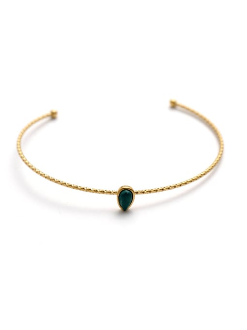 blackish green Stainless steel turquoise Water Drop Trend Cuff Bangle