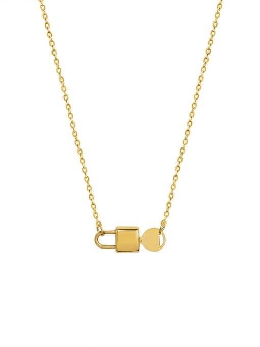 Gold necklace 43+5cm Titanium Steel Locket  Key Minimalist Necklace