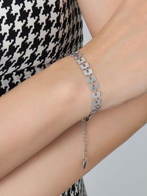 E143 steel brand Bracelet 15 +5cm Titanium Steel Geometric Minimalist Link Bracelet