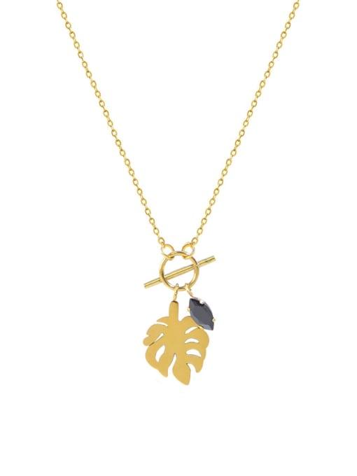 MAKA Titanium Steel Hollow Leaf Vintage Necklace 0