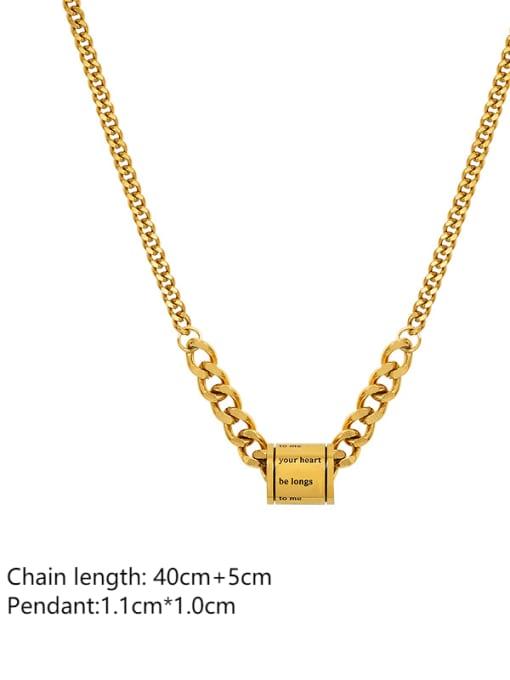 MAKA Titanium Steel Geometric  Letter Vintage Necklace 2