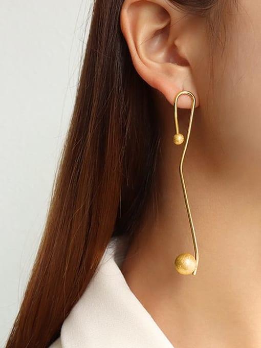 MAKA Titanium Steel Tassel Minimalist Hook Earring 1