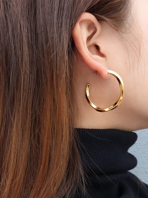 MAKA Titanium Steel Geometric Minimalist Hoop Earring 1