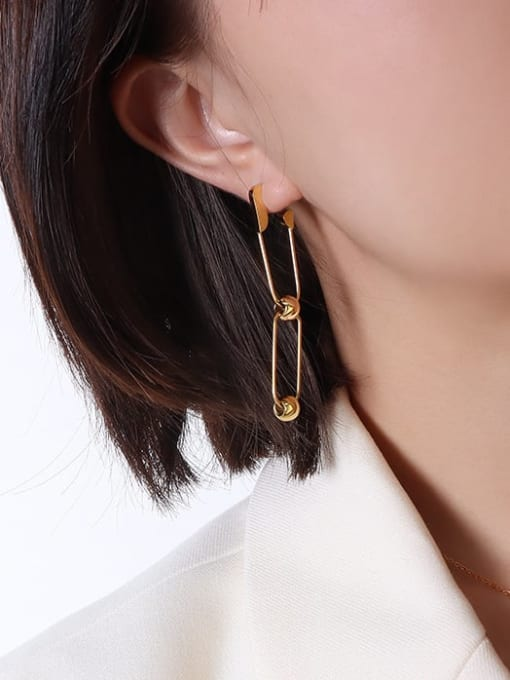 MAKA Titanium Steel Hollow Geometric Hip Hop Drop Earring 1