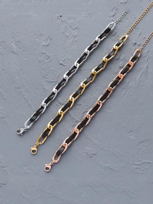 MAKA Titanium Steel Leather Geometric Vintage Link Bracelet 2