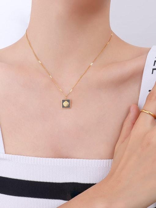 P036 gold necklace 40+ 5cm Titanium Steel Enamel Minimalist Square Earring and Necklace Set