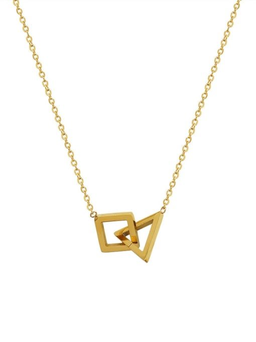 MAKA Titanium 316L Stainless Steel Geometric Minimalist Necklace with e-coated waterproof 0