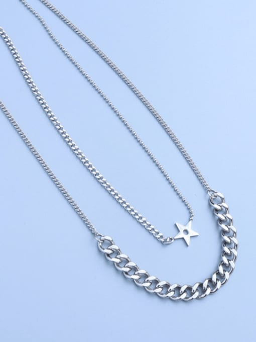MAKA Titanium Steel Geometric Hip Hop Multi Strand Necklace 0