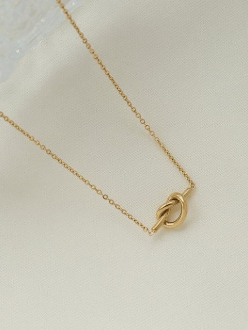 Gold Titanium Steel Knot Heart Minimalist Necklace