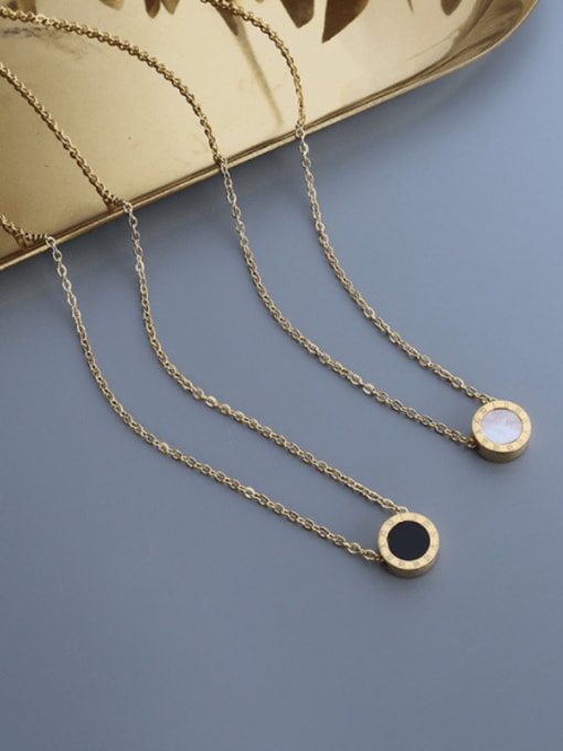 MAKA Titanium 316L Stainless Steel Shell Round Vintage Necklace with e-coated waterproof 1