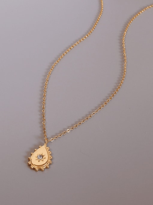 MAKA Titanium 316L Stainless Steel Rhinestone Water Drop Vintage Necklace with e-coated waterproof 2