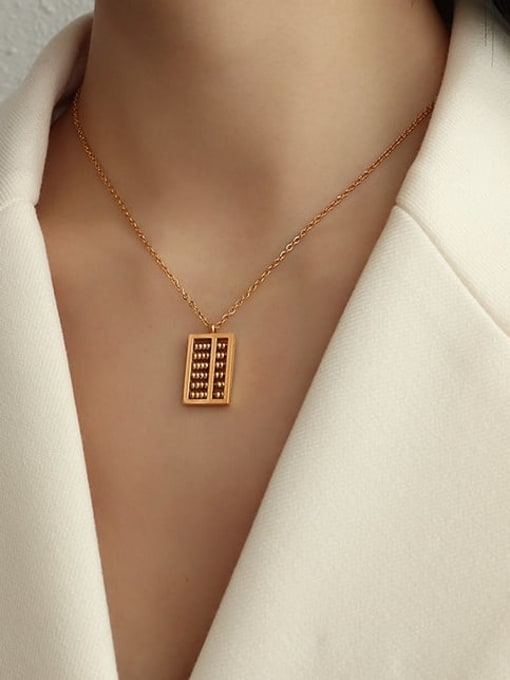 Rose gold 40+5cm Titanium Steel Bead Geometric Vintage Necklace