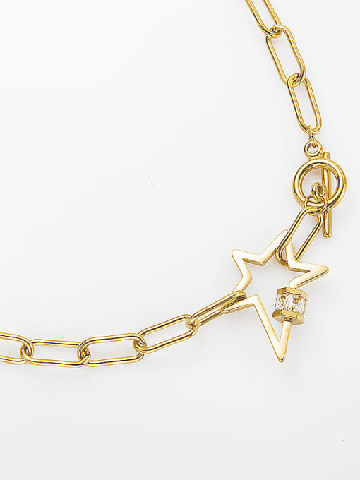 YAYACH Hollow five-pointed star OT buckle stainless steel necklace 2