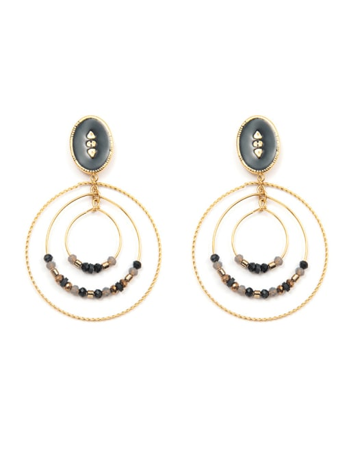 Black 3-ring manual bead plated 14K Gold Stainless Steel Ear Ring