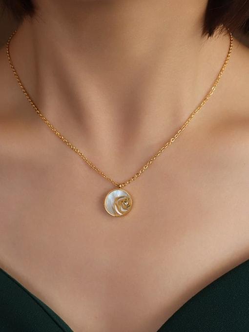 MAKA Titanium Steel Shell Geometric Vintage Necklace 1