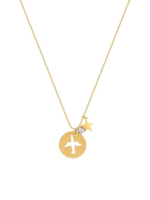 Gold necklace 40+5cm Titanium Steel Rhinestone Round Minimalist Necklace
