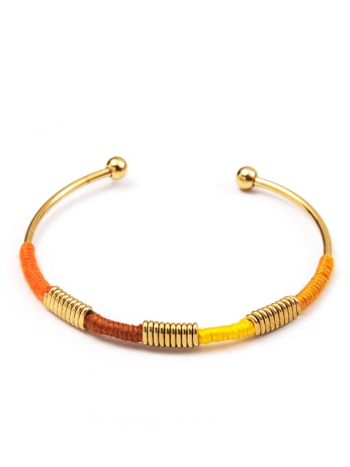 YAYACH Stainless steel color thread ethnic style open bracelet 0