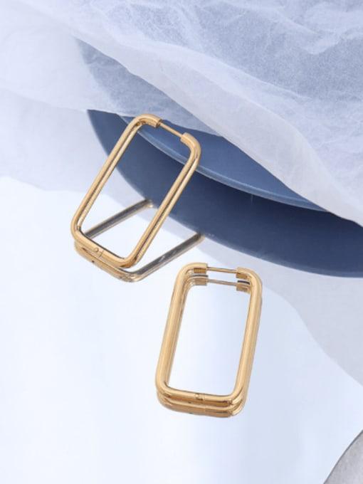 MAKA Titanium Steel Geometric Minimalist Huggie Earring 2