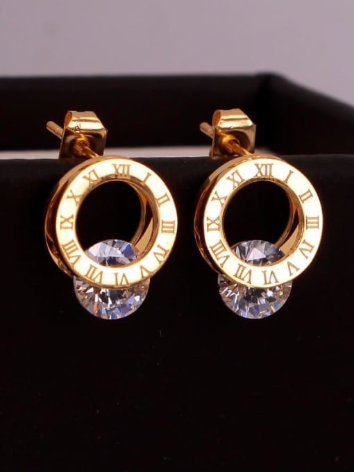 K.Love Titanium Steel Cubic Zirconia Number Minimalist Stud Earring 2