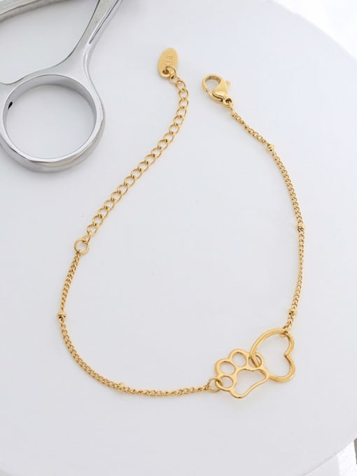 E014 gold bracelet 15+ 5cm Titanium Steel Hollow Heart Minimalist Link Bracelet