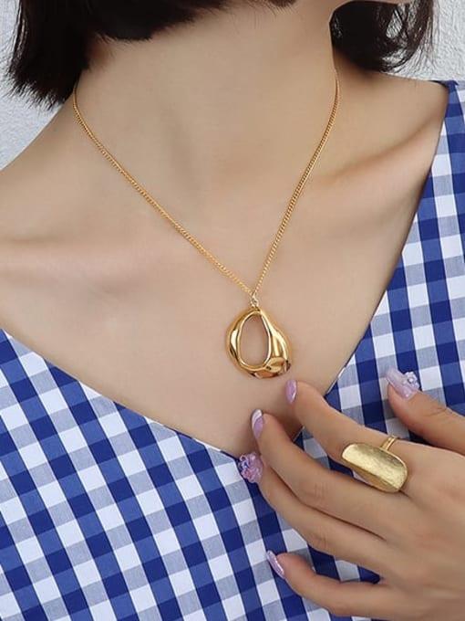 MAKA Titanium Steel Hollow Geometric Vintage Necklace 1