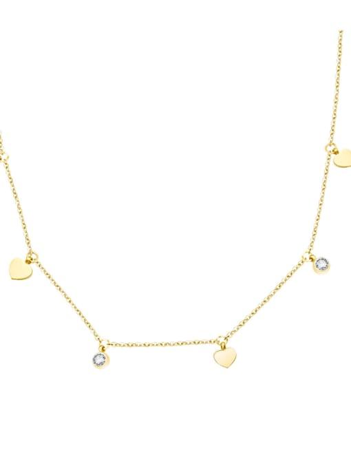 MAKA Titanium 316L Stainless Steel Rhinestone Heart Minimalist Necklace with e-coated waterproof 0