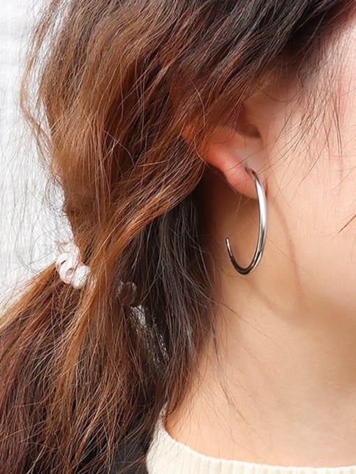 MAKA Titanium Steel C shape Minimalist Hoop Earring 1
