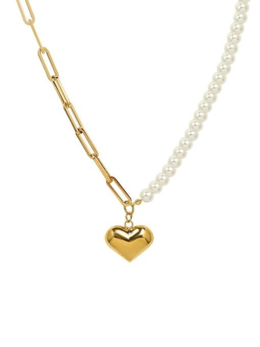 MAKA Titanium Steel Imitation Pearl Heart Vintage Necklace 0