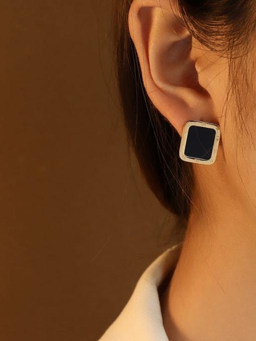 Steel Black Titanium Steel Shell Geometric Minimalist Stud Earring