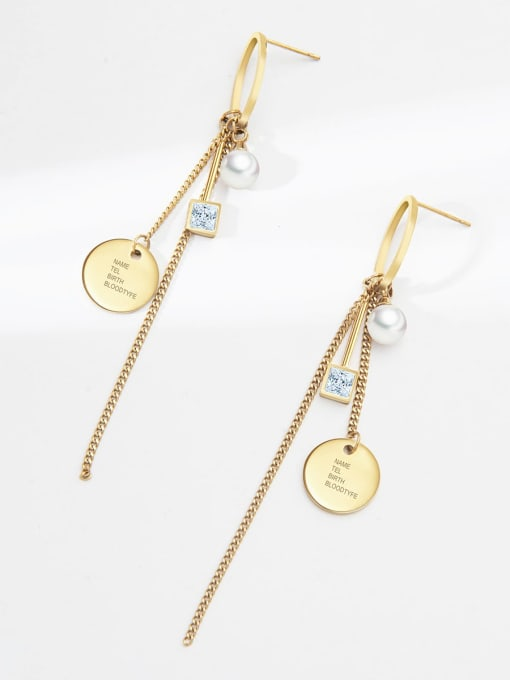 YAYACH Crystal geometric ring pearl temperament exquisite titanium steel earrings 2