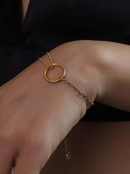 E067 gold s 15+5cm Titanium 316L Stainless Steel Geometric Minimalist Strand Bracelet with e-coated waterproof