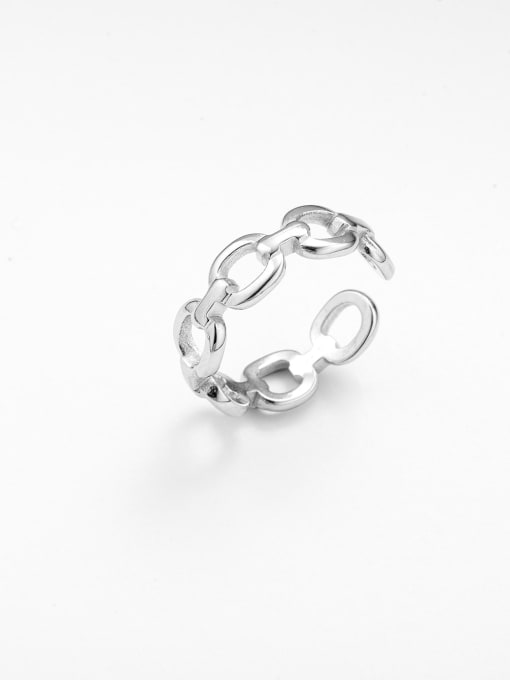 Silver Thin chain all-match hollow opening adjustable titanium steel ring