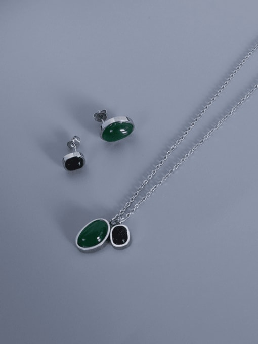 P1041 Steel Agate Necklace 405cm Titanium Steel Vintage Geometric  Agate Earring and Necklace Set
