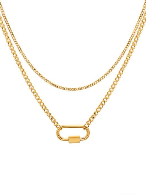 Gold Double necklaces Titanium Steel Geometric Pin Vintage Multi Strand Necklace