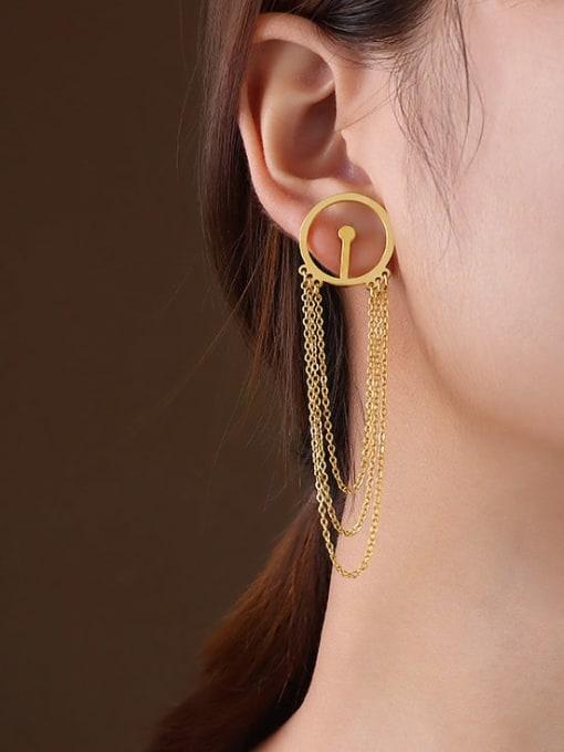 MAKA Titanium 316L Stainless Steel Geometric Tassel Minimalist Threader Earring with e-coated waterproof 1