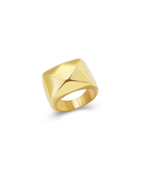 MAKA Titanium Steel Smooth Geometric Artisan Band Ring 0