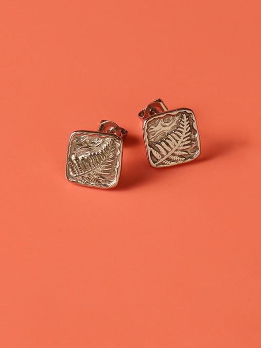 MAKA Titanium Steel Square Vintage Stud Earring 2