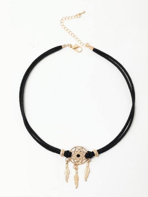 YAYACH Alloy  Vintage  Hollow  Dreamcatcher Leather  necklace. 2