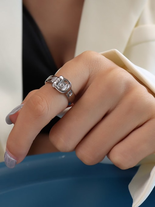 Steel Titanium 316L Stainless Steel Geometric Vintage Band Ring with e-coated waterproof