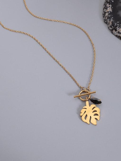 MAKA Titanium Steel Hollow Leaf Vintage Necklace 2