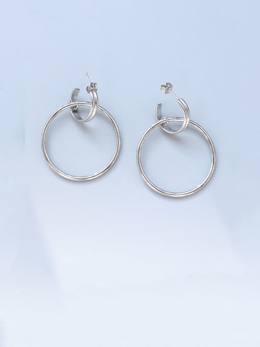 MAKA Titanium Steel  Hollow Geometric Minimalist Hoop Earring 2