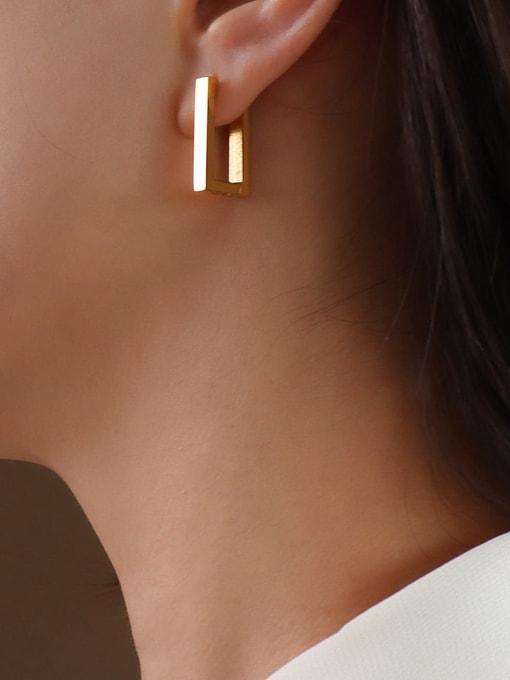 MAKA Titanium 316L Stainless Steel Geometric Minimalist Huggie Earring with e-coated waterproof 3