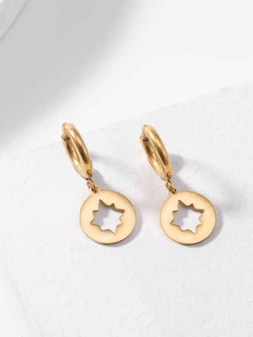 YAYACH Hollow plated 14K Gold hexapod titanium steel earrings 2