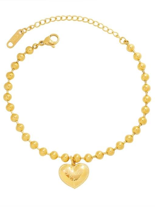 MAKA Titanium Steel Bead Heart Minimalist Beaded Bracelet 0