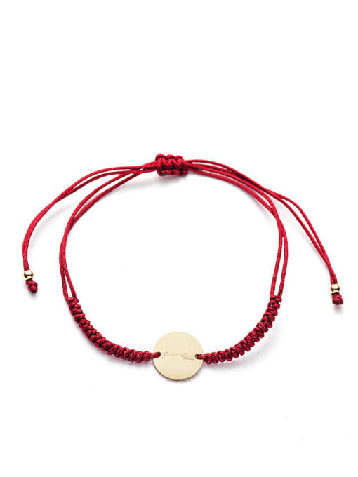Red Stainless steel Round Minimalist Adjustable Handmade Weave Bracelet