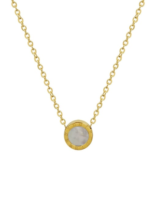 MAKA Titanium 316L Stainless Steel Shell Round Vintage Necklace with e-coated waterproof