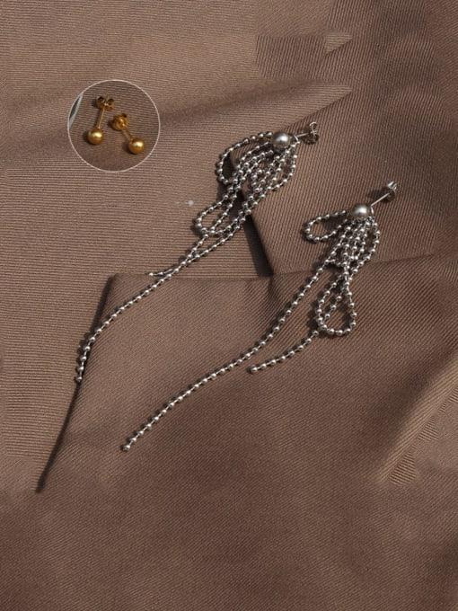 Steel Titanium Steel Bead Tassel Vintage Drop Earring