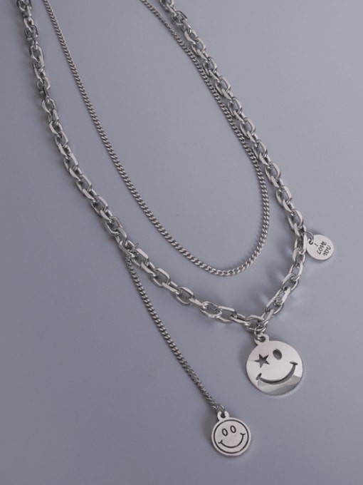 Steel Double layer Titanium Steel Smiley Vintage Multi Strand Necklace
