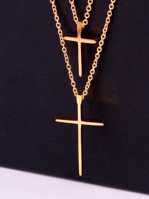 K.Love Titanium Steel Cross Minimalist Multi Strand Necklace 1