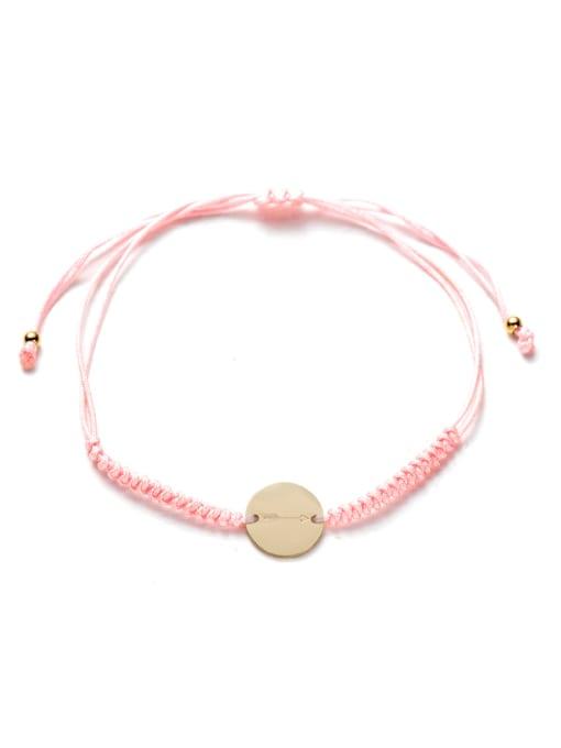 Pink Stainless steel Round Minimalist Adjustable Handmade Weave Bracelet
